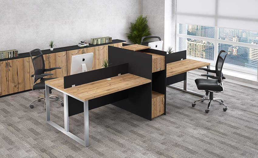 4 person workstation with attached cabinet